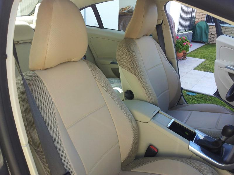 Volvo tan leatherette custom fit two front car seat covers Summary
