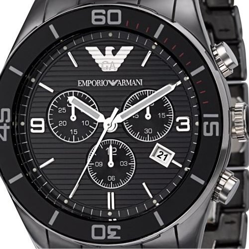 Emporio armani ar1421 black ceramica chronograph mens watch for Ceramica chronograph