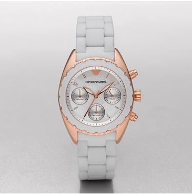 63fa3c58c71e Emporio Armani AR5945 Ladies Sportivo Rose Gold White Bracelet Watch