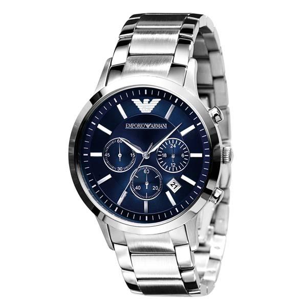 Emporio armani ar2448 mens classic blue silver watch