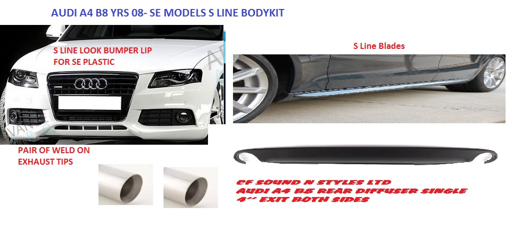 Audi A4 B8 S Line Bodykit For Se Models Front Lip Blades Diffuser