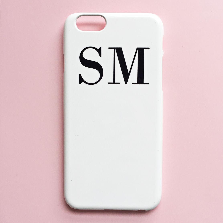 white and black monogram phone case