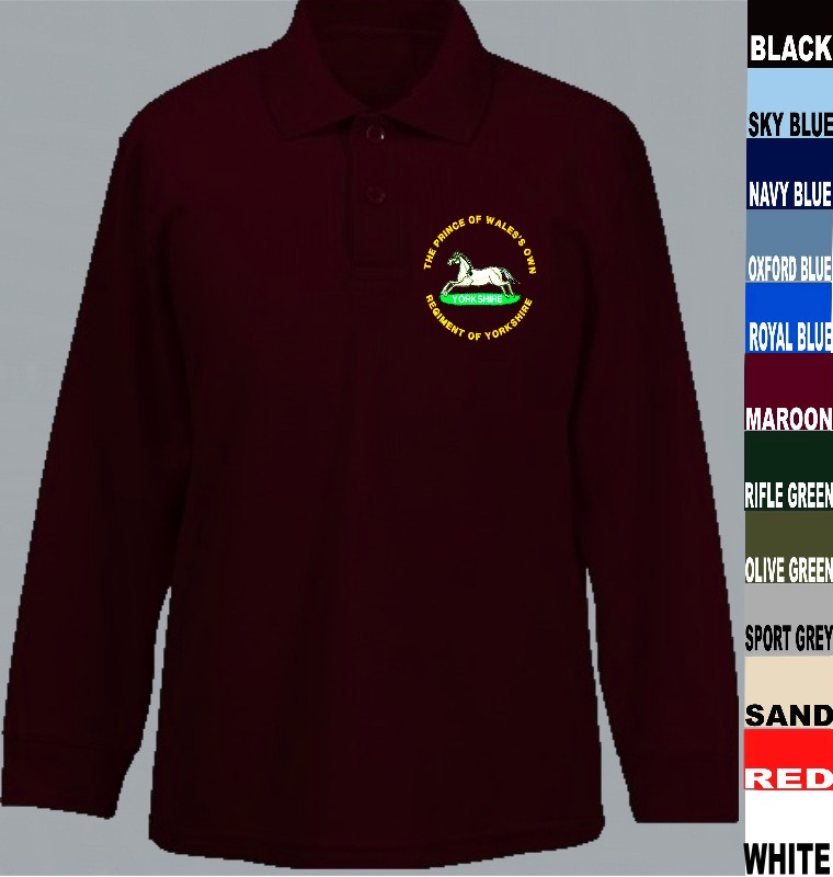 8432122f Prince of Wales Own Regiment of Yorkshire Long Sleeve Polo Shirt title=