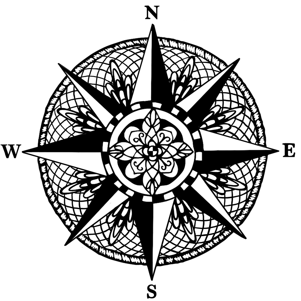 Nautical Compass Mandala Vinyl Wall Sticker