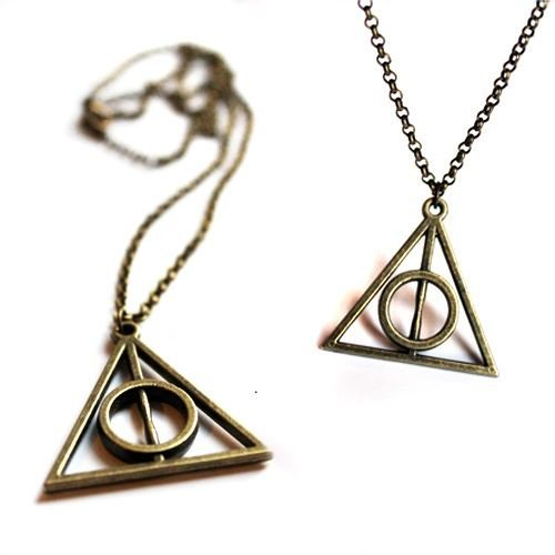 Harry Potter Deathly Hallows Symbol Necklace In Antique Bronze
