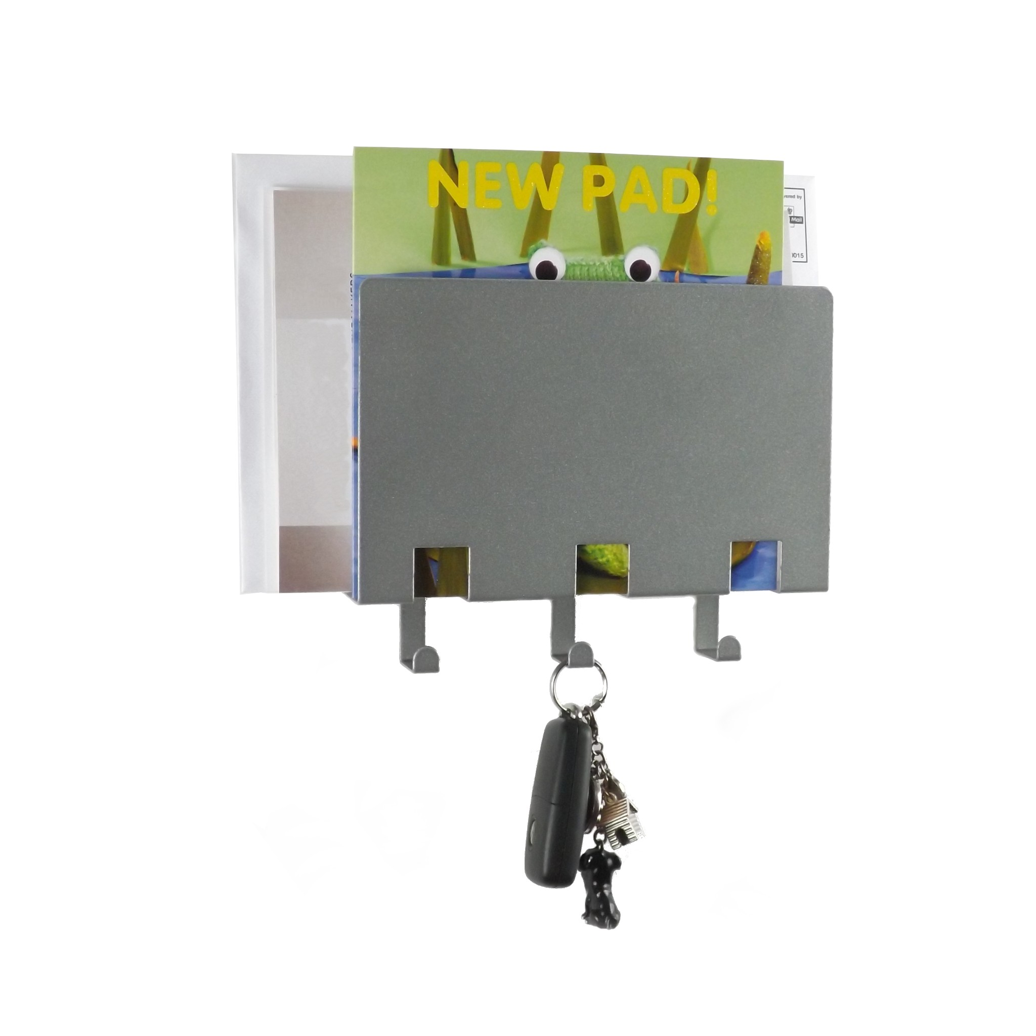 Stylish metal letter rack with key holder metallic silver - Letter rack and key holder ...