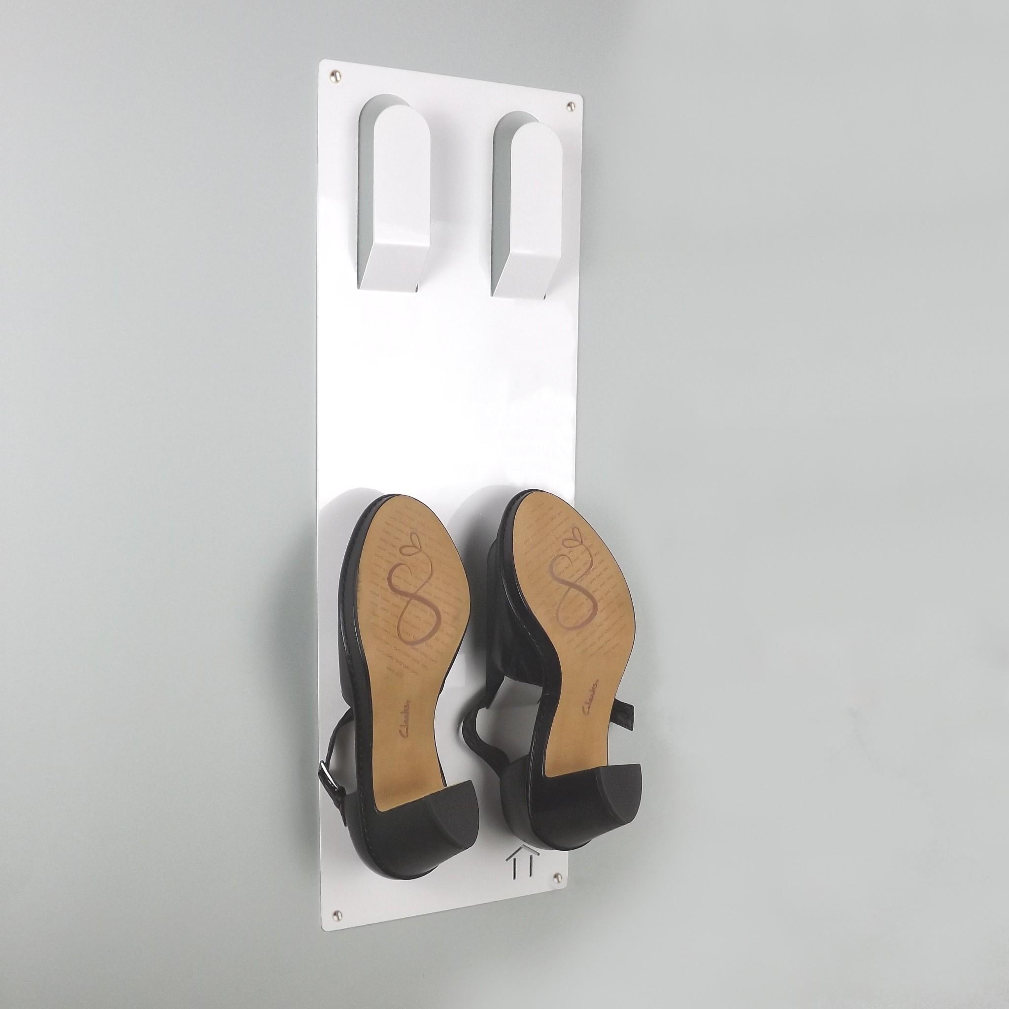 Slimline Wall Mounted Metal Shoe Rack White