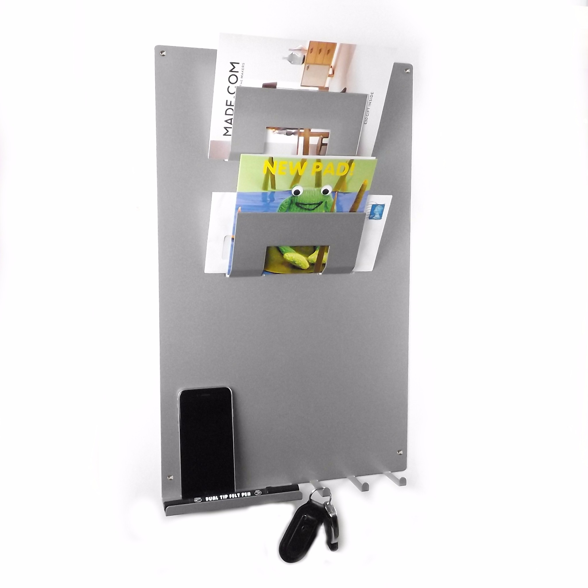3 In 1 Magnetic Memo Board Letter Rack And Key Holder Metallic Silver