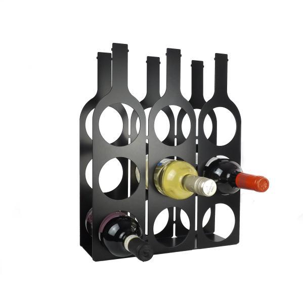 Bottle Design Metal Wine Rack Black