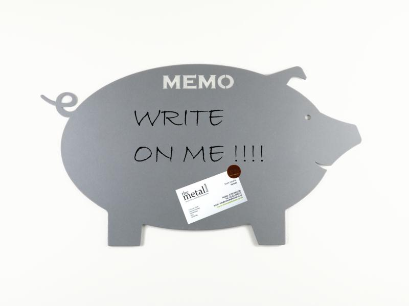 pig design magnetic memo board metallic silver