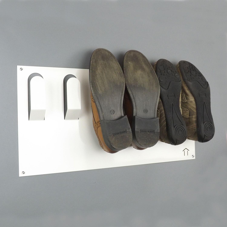Horizontal Wall Mounted Metal Shoe Rack Metallic Silver