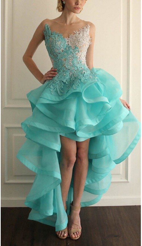 Gorgeous Beaded High Low Lace Prom Dresses Sheer Back Ruffles ...