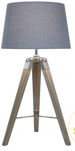 tripod natural wood table lamp with stonewash blue shade. Black Bedroom Furniture Sets. Home Design Ideas
