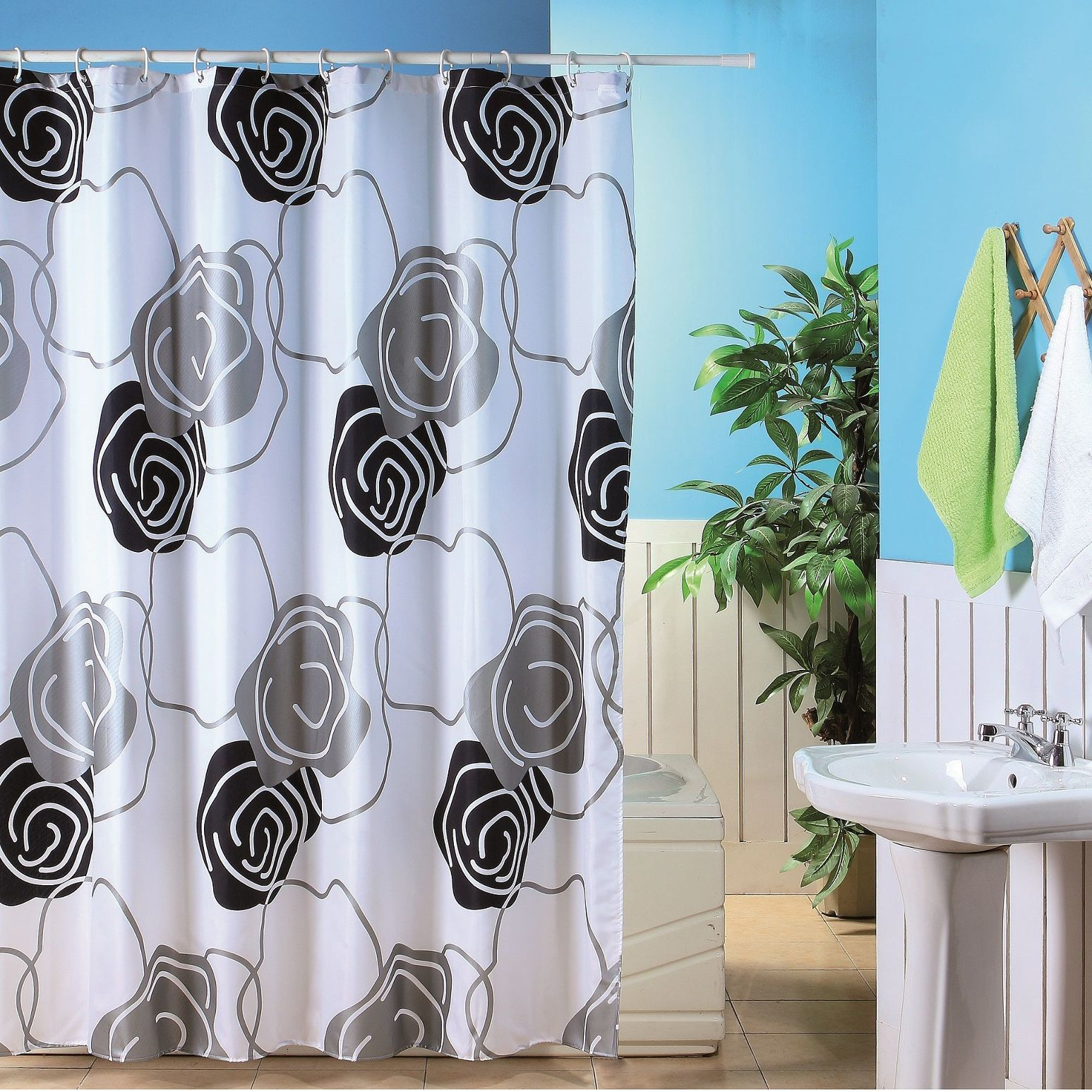 Metallic Flower Shower Curtain