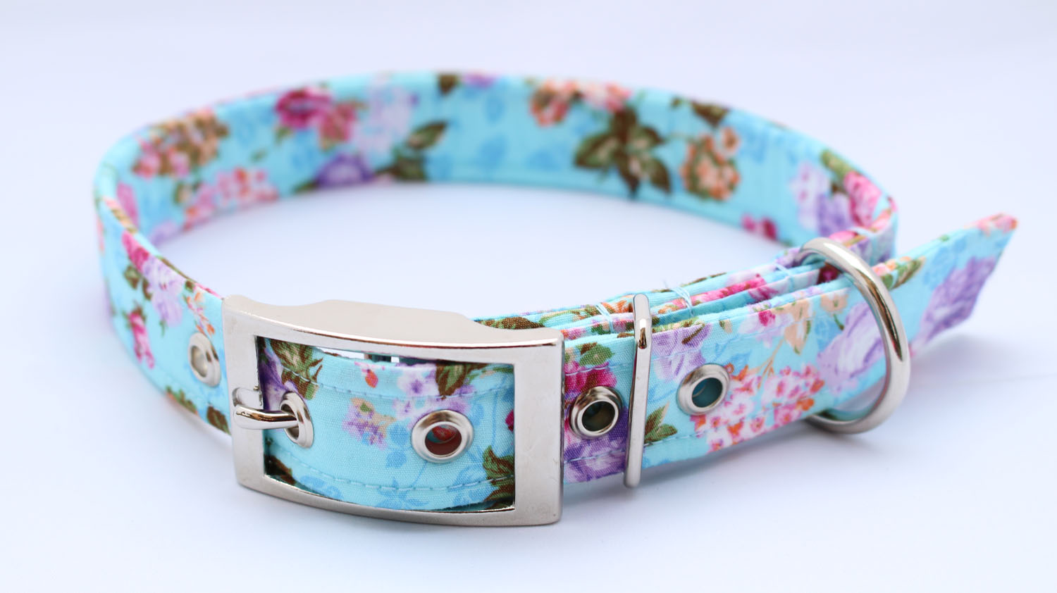 Blue Roses Buckle Dog Collar b4074b2f852