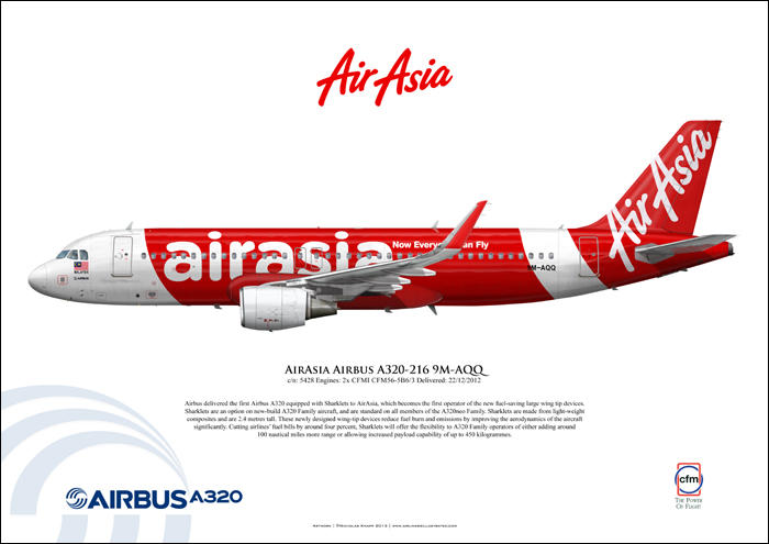 Airliners Illustrated�� AirAsia Airbus A320-216 9M-AQQ Fine Art Print