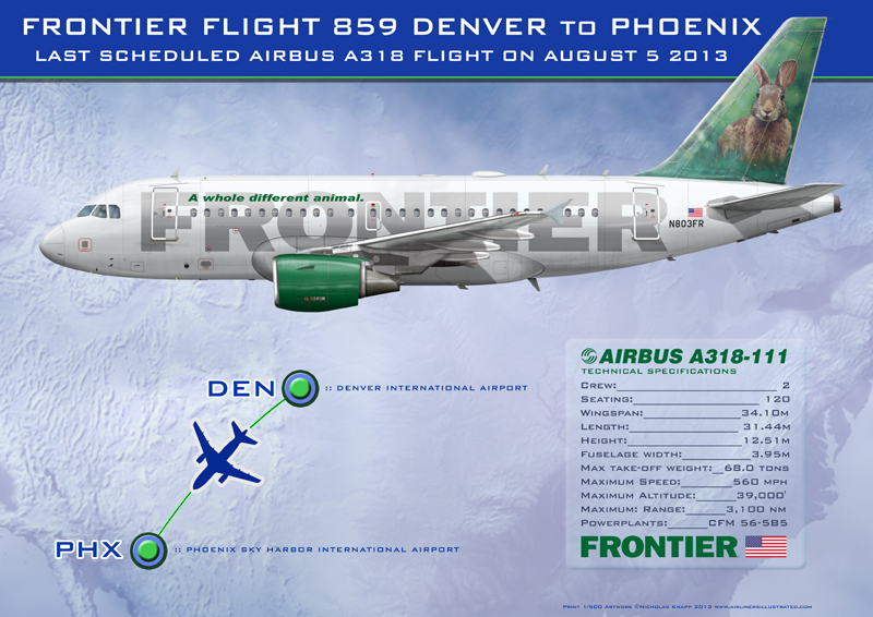 Frontier Airlines Airbus A318111 DENPHX Last A318 Flight Special