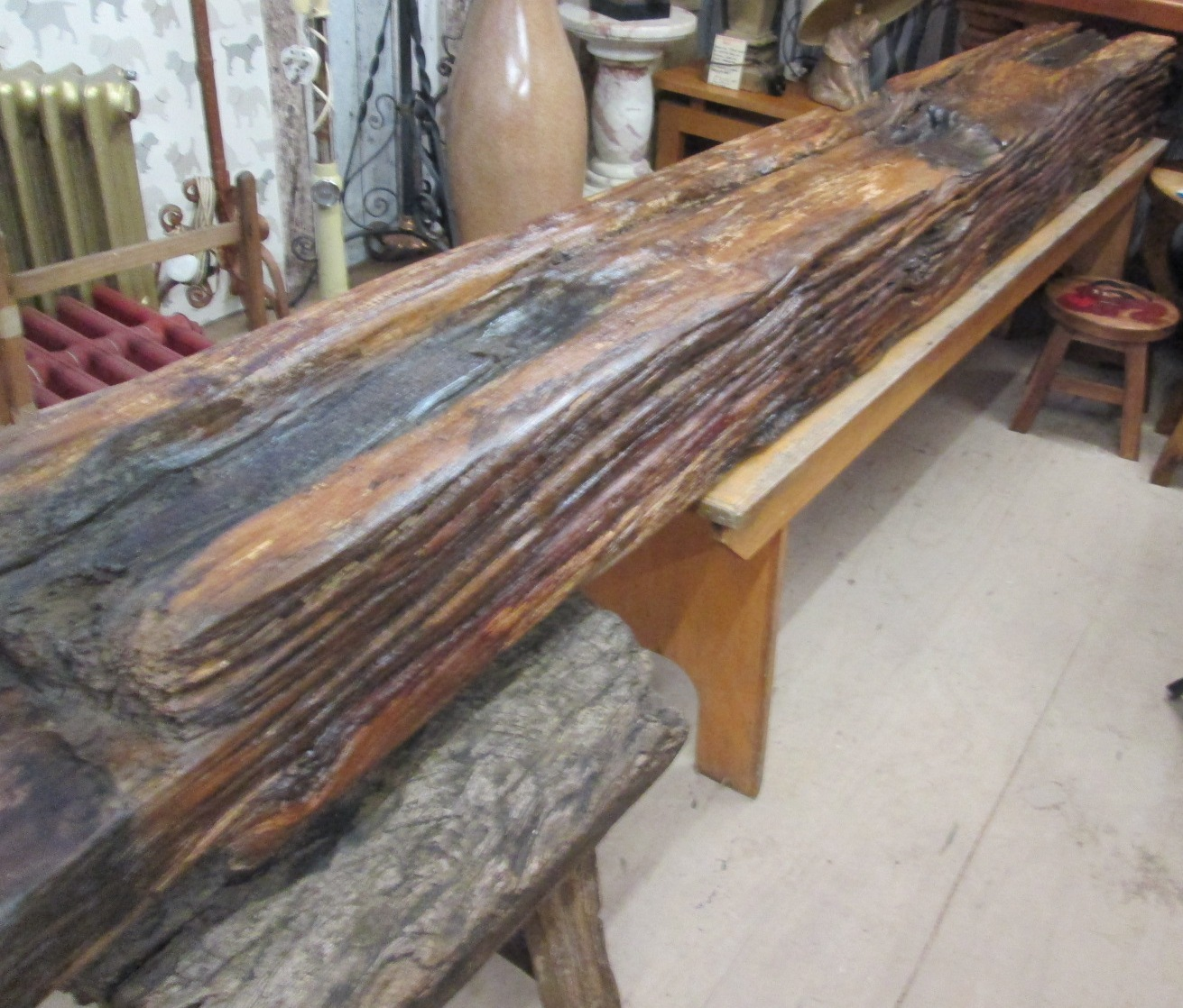 Reclaimed beams ex canal lock gate timbers