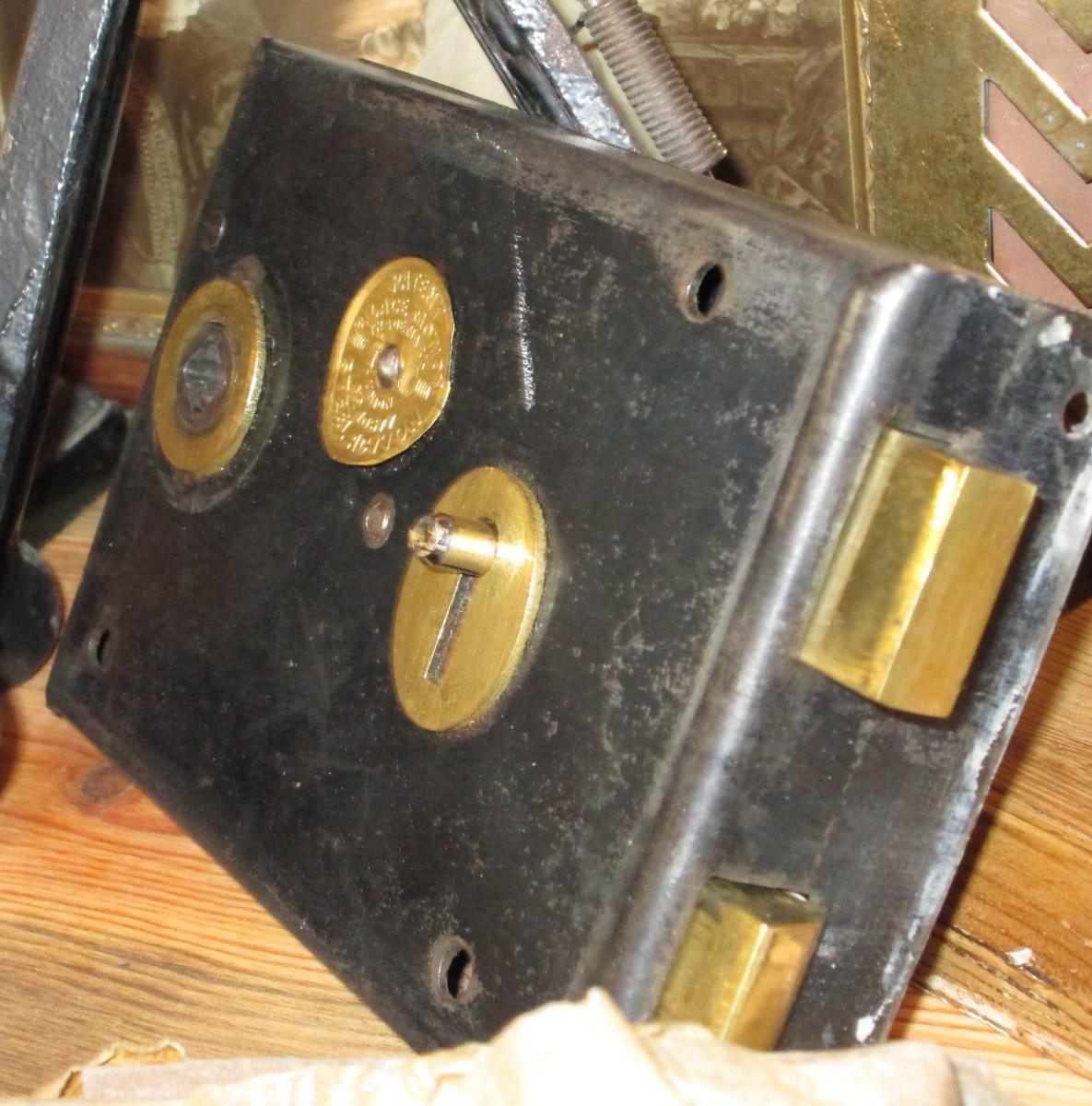 restored vintage box type keyed rim lock. Black Bedroom Furniture Sets. Home Design Ideas