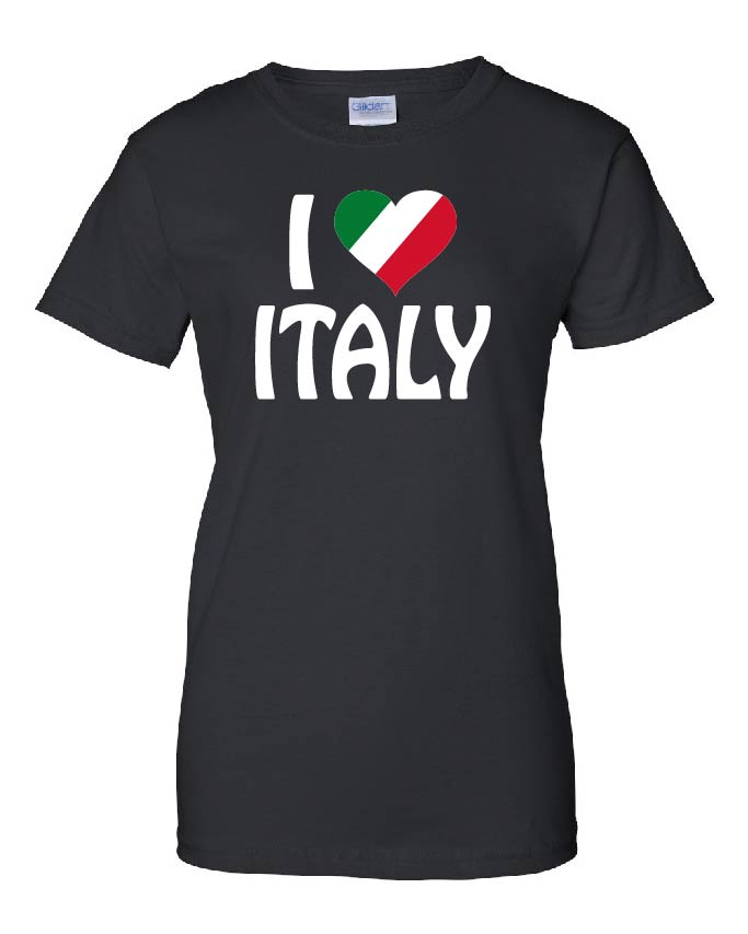 Ladies t shirt i love italy for Shirts made in italy