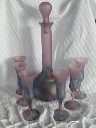 Vintage Reuven Glass Decanter Amp Six Stem Set Sold
