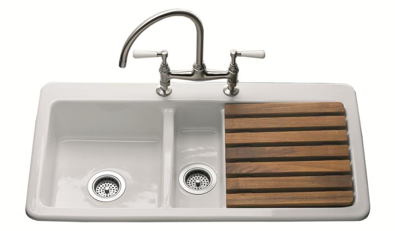 1.5 Bowl Sink Right Hand Drainer 2 Tap Holes