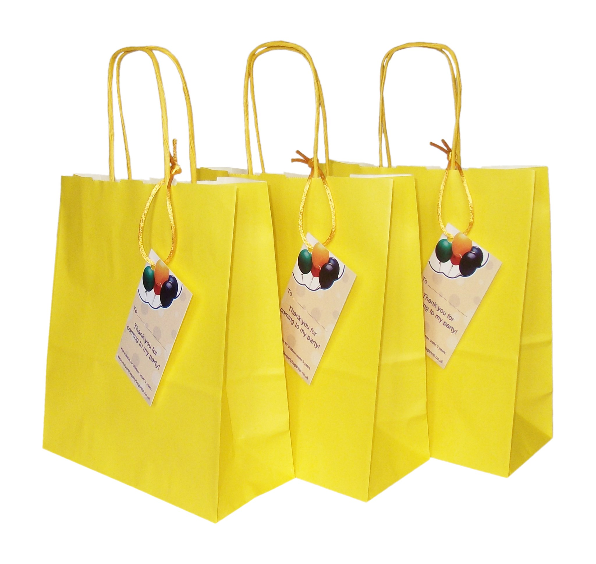 Paper bag yellow - Luxury Yellow Paper Party Bags With Handles And Thank You Label