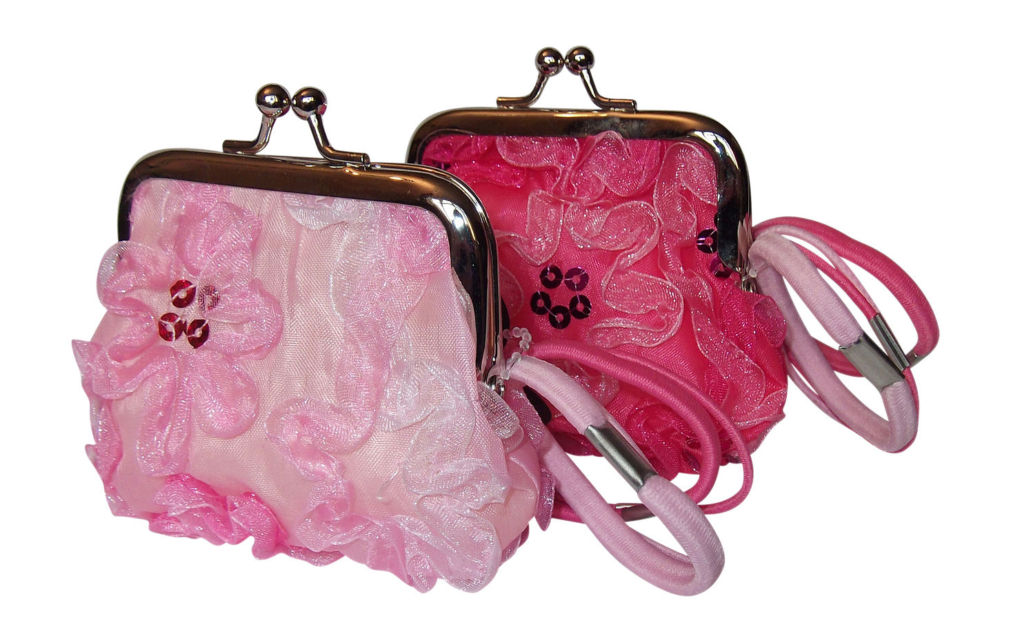 Pretty Pink Purse With Chiffon Flower Sequin Design And 4 Elastics