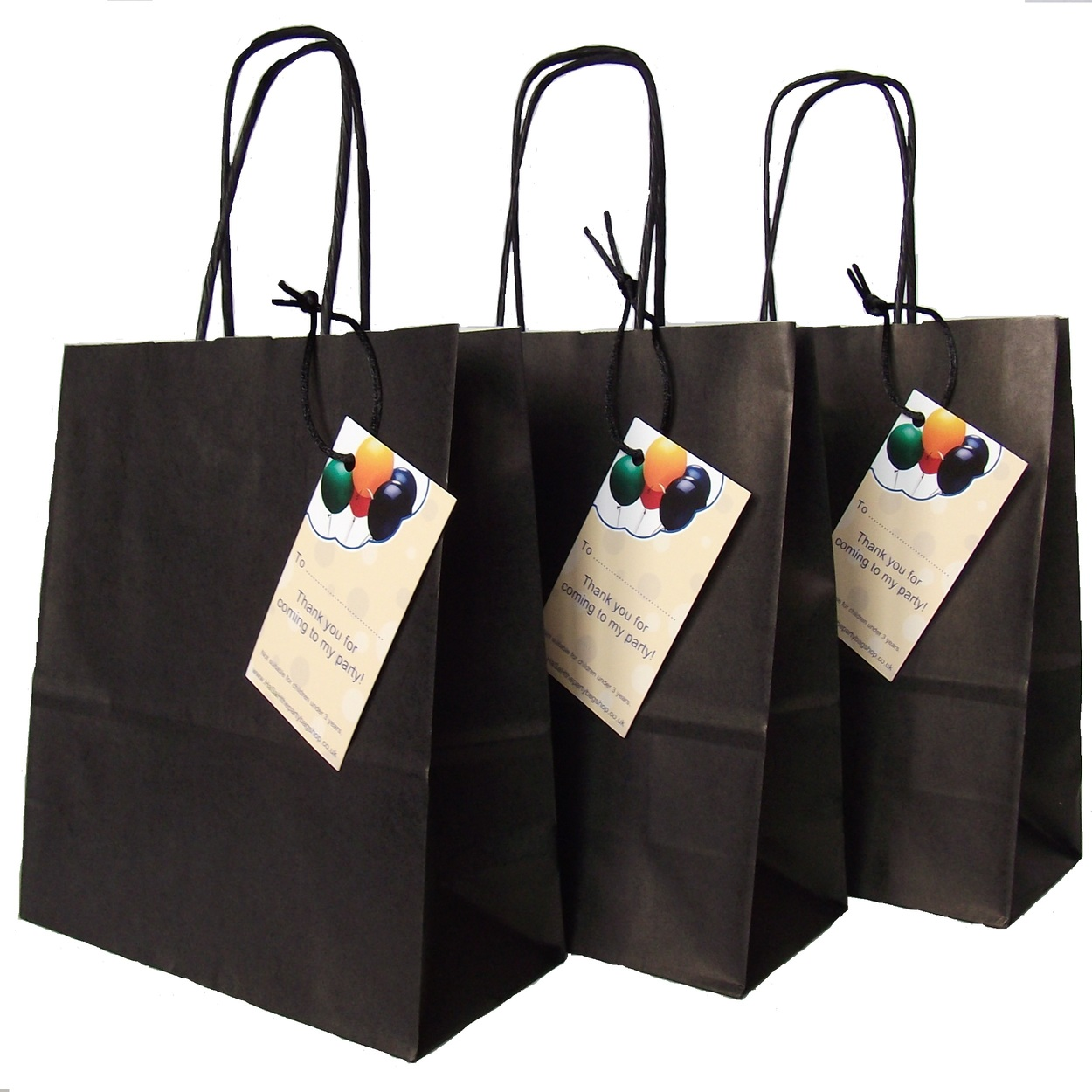 54c128447c32 Luxury Black Paper Party Bags with Handles and Thank You Label