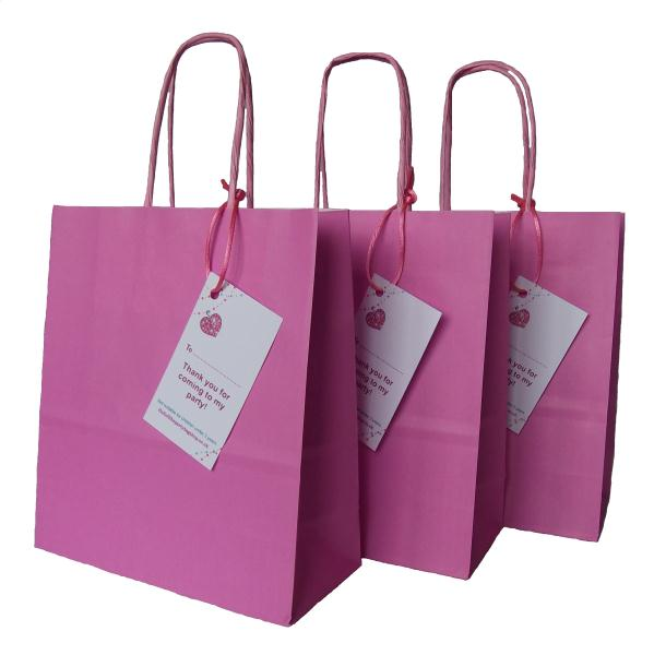 Luxury Pink Paper Party Bags With Handles And Thank You Label