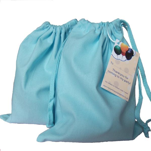 Light Blue Cotton Fabric Drawstring Bag with Thank You Card