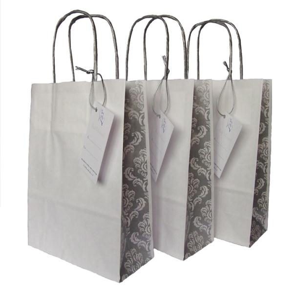 Wedding Gift Paper Bags : Wedding Paper Gift Bag with Silver Damask PanelFor Gifts or Favours