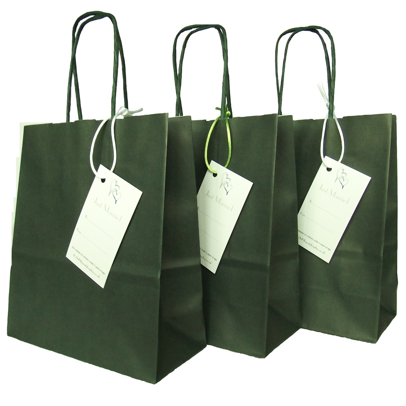 Wedding Paper Dark Green Gift Favour Bag with Just Married Label