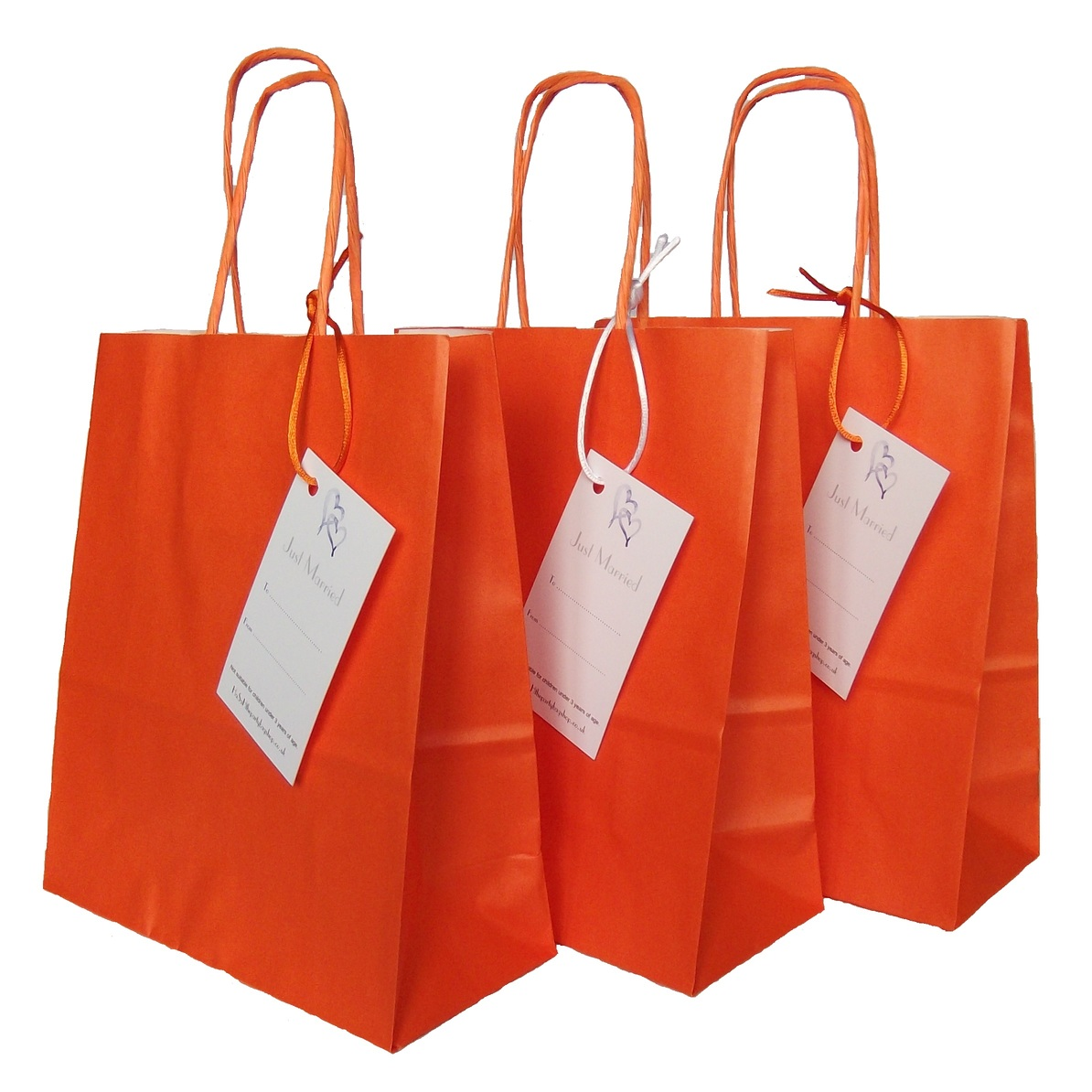 Wedding Gift Paper Bags : Wedding Paper Orange Gift Favour Bag with Just Married Label