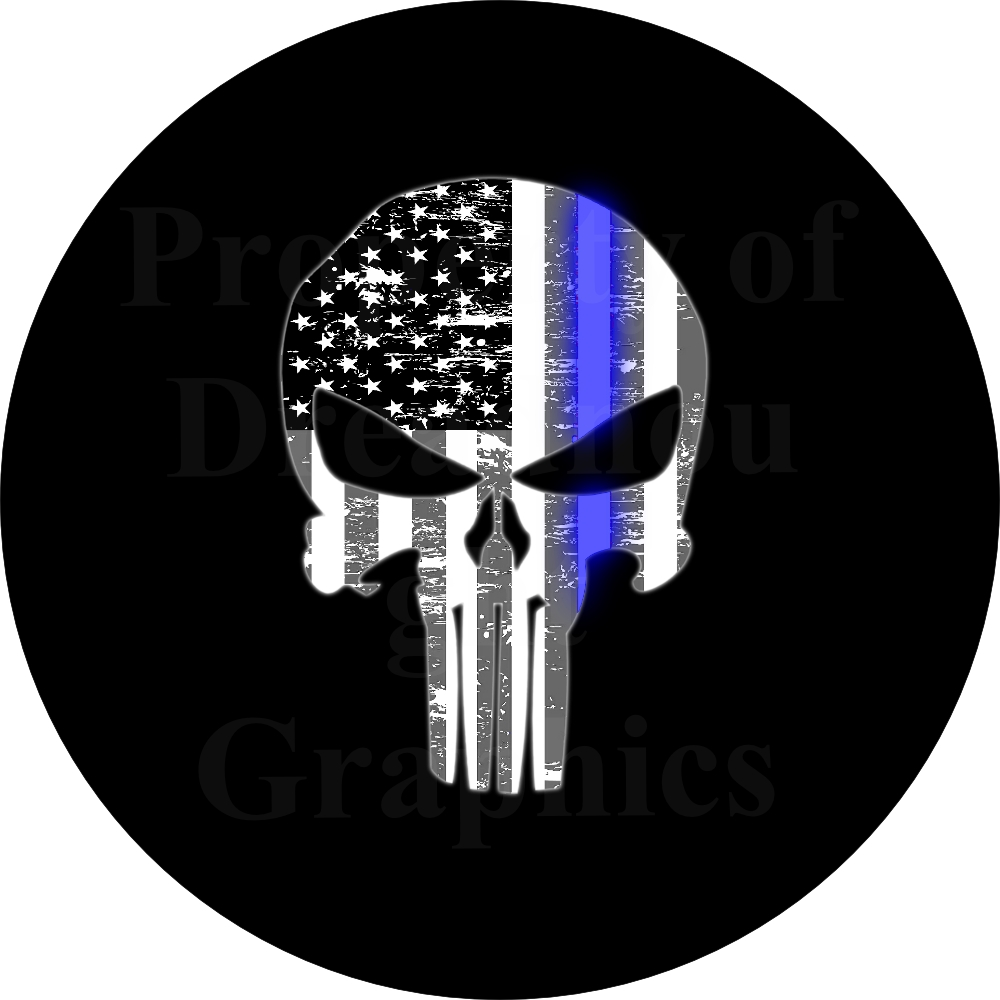 punisher skull thin blue  spare tire cover