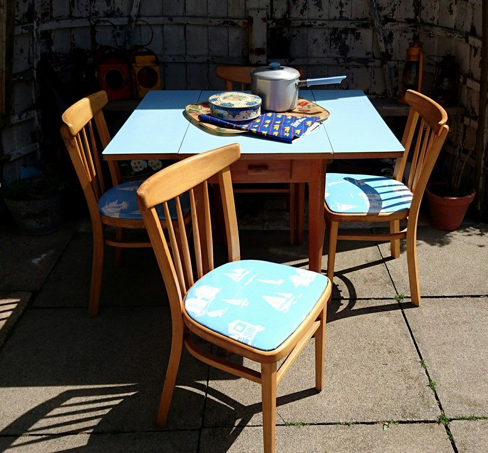 retro mid century large blue formica table and 4 bentwood chairs