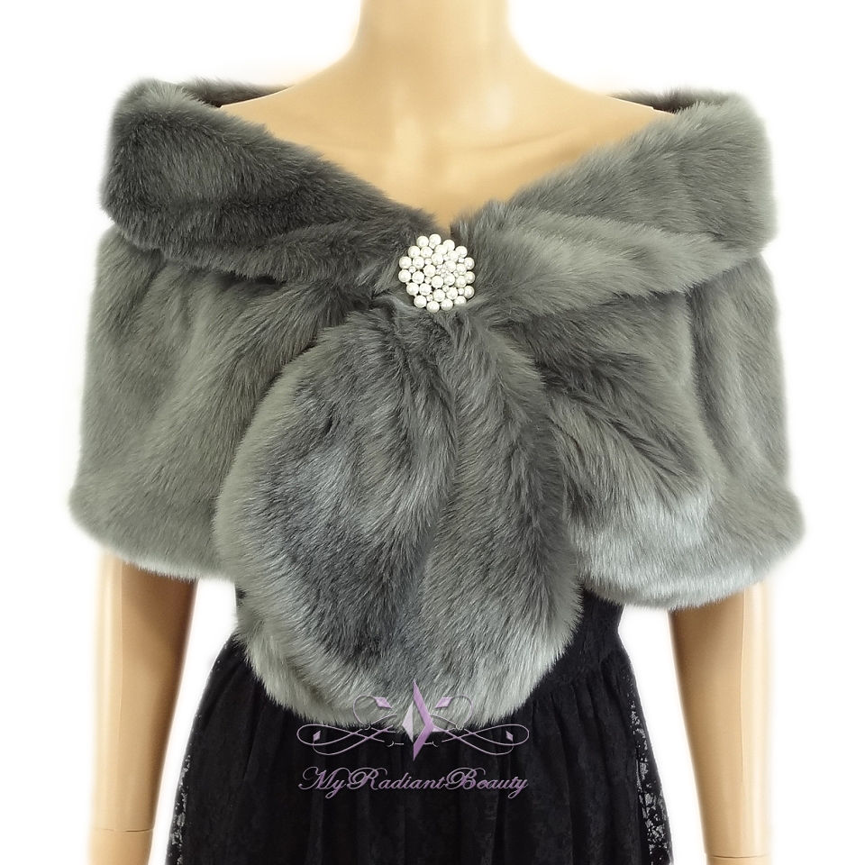Bridal Gray Short Faux Fur Stole Fox Fur Shrug