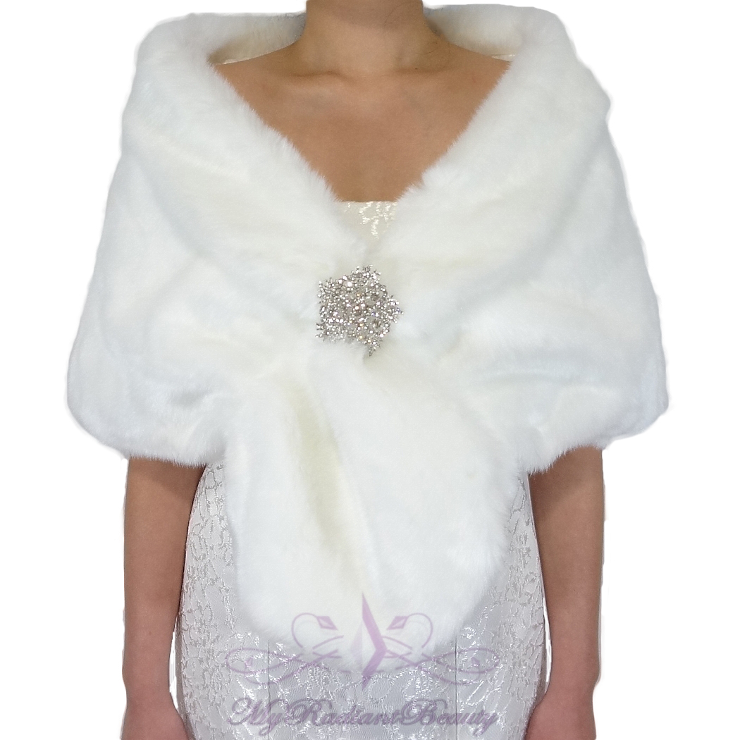 White Fur Stole >> Bridal White Short Faux Fur Stole Fox Fur Shrug