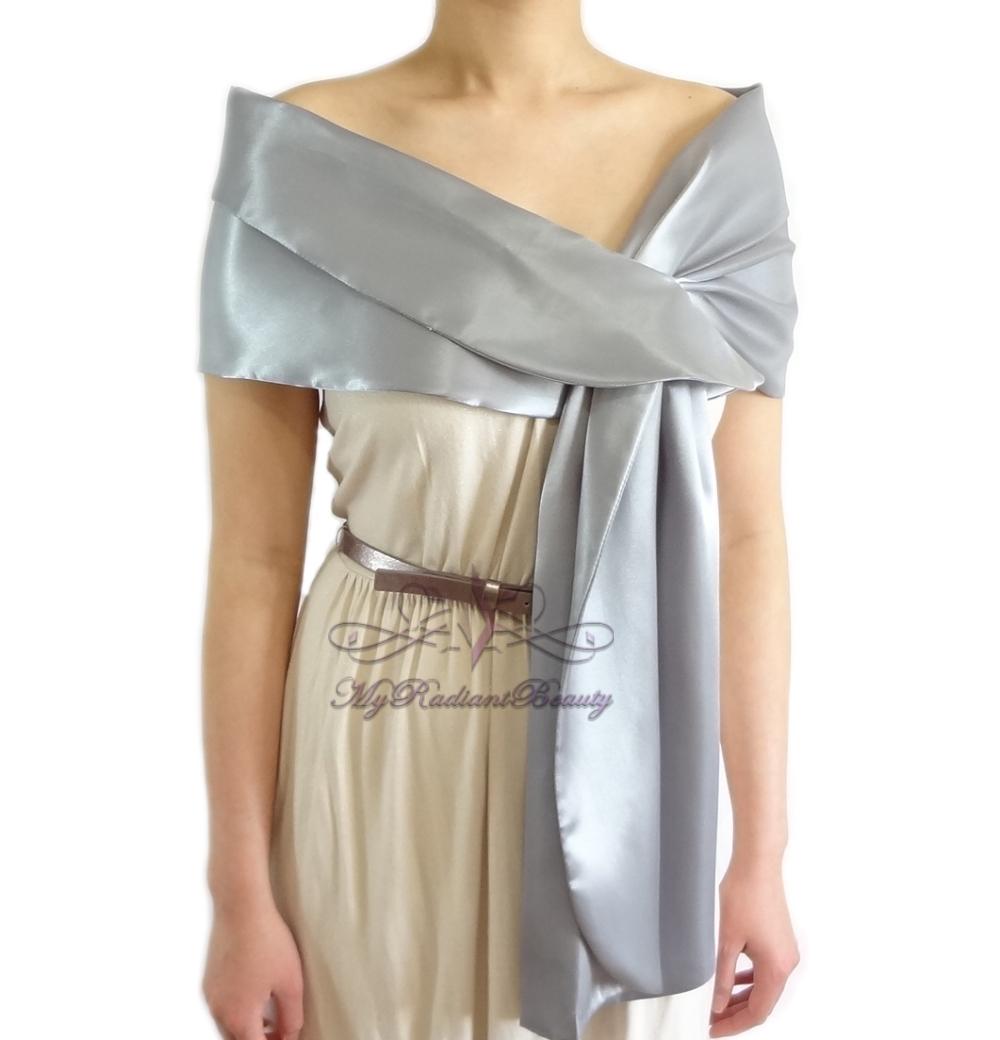 Bridal Grey Silk Satin Evening Wrap Shawl