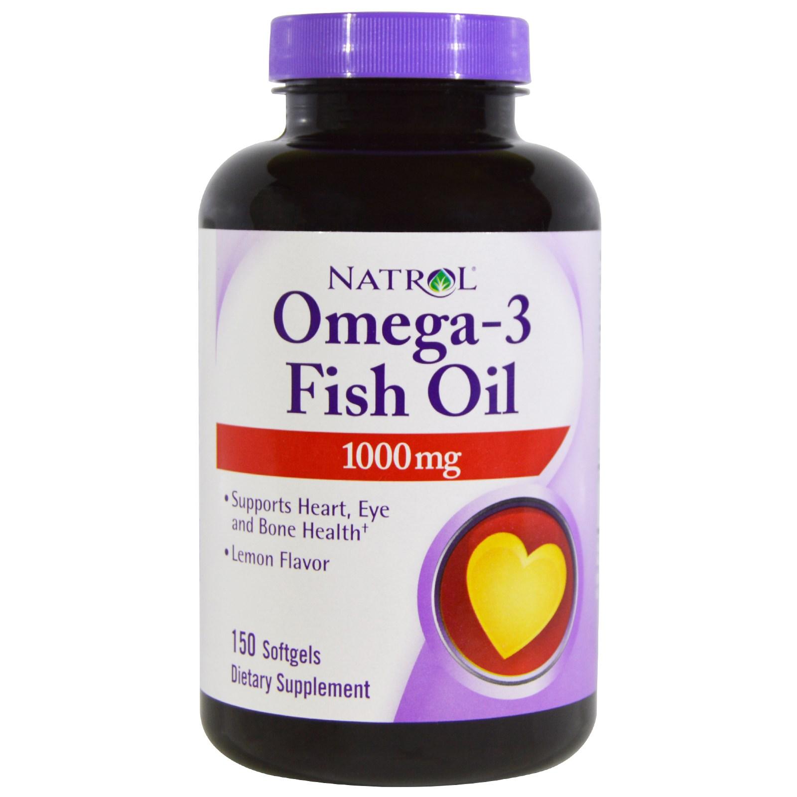 Natrol, Omega-3 Fish Oil, Lemon Flavor, 1,000 mg, 150 Softgels