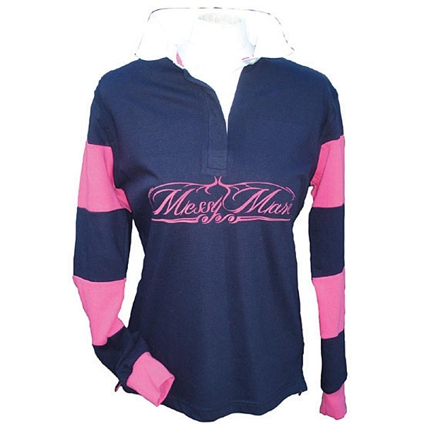 Messy Mare Ladies Rugby Shirt Navy Pink