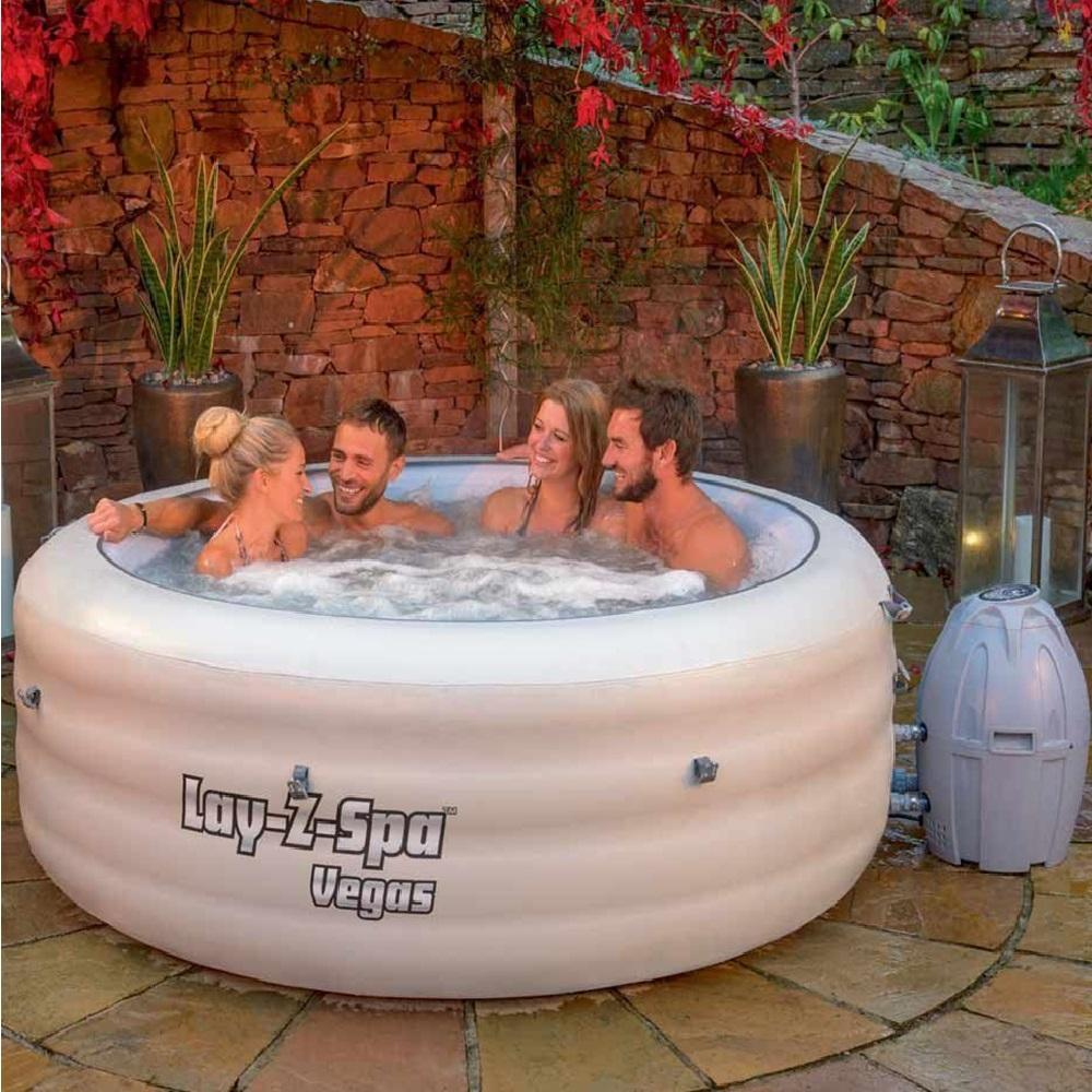 lay z spa vegas inflatable portable family hot tub jacuzzi bubble jet 46 person