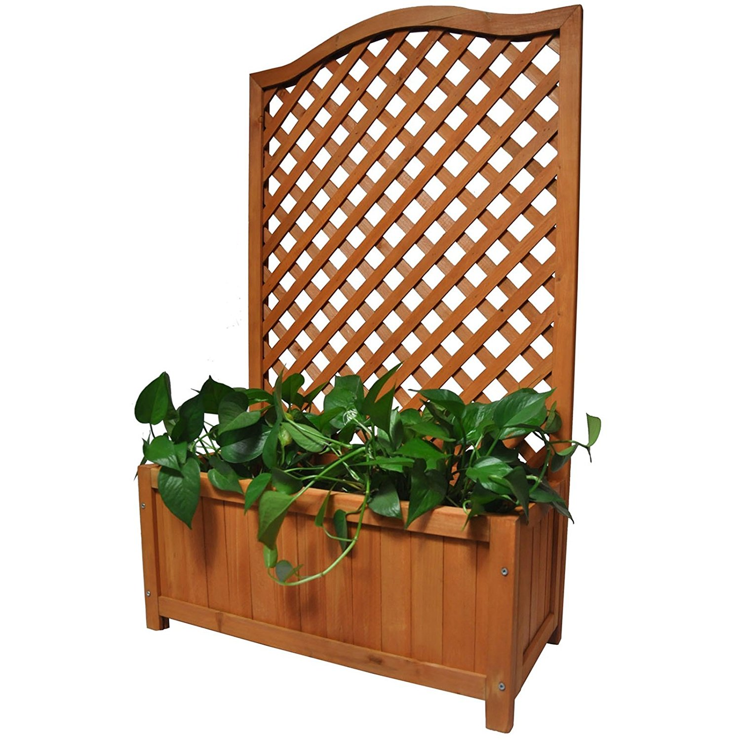 Rectangular Wooden Planter with Lattice for Vines Climbing Flower ...