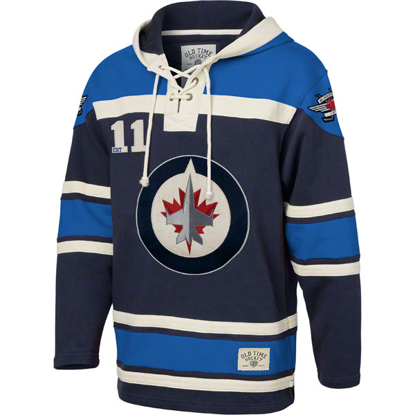 Winnipeg Jets Royal Old Time Hockey Lace Up Jersey Hooded