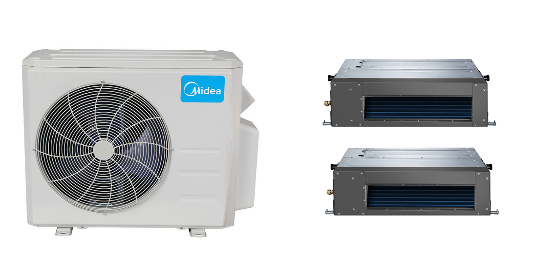 #0290C9 Midea 21 Seer 2x12000Btu Dual Zone Ducted Mini Split Heat  Reliable 13068 Mitsubishi Ductless Air Conditioning Installation wallpaper with 2048x1024 px on helpvideos.info - Air Conditioners, Air Coolers and more