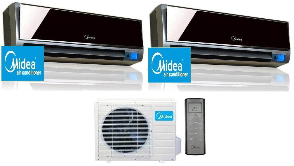 Midea 16 seer 2x18000btu vertu 2 zone mini split heat pump ac for 18000 btu heat pump window unit