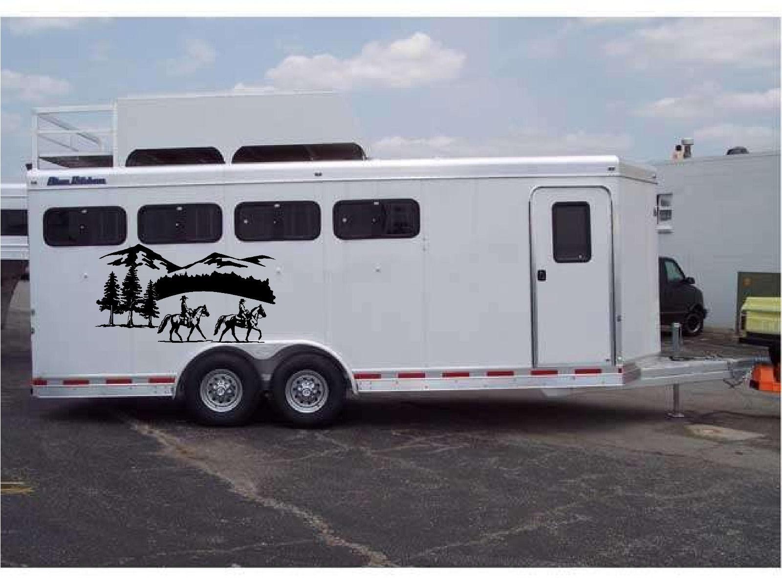 Horses landscape border horse trailer truck rv camper for Decals for rv mural