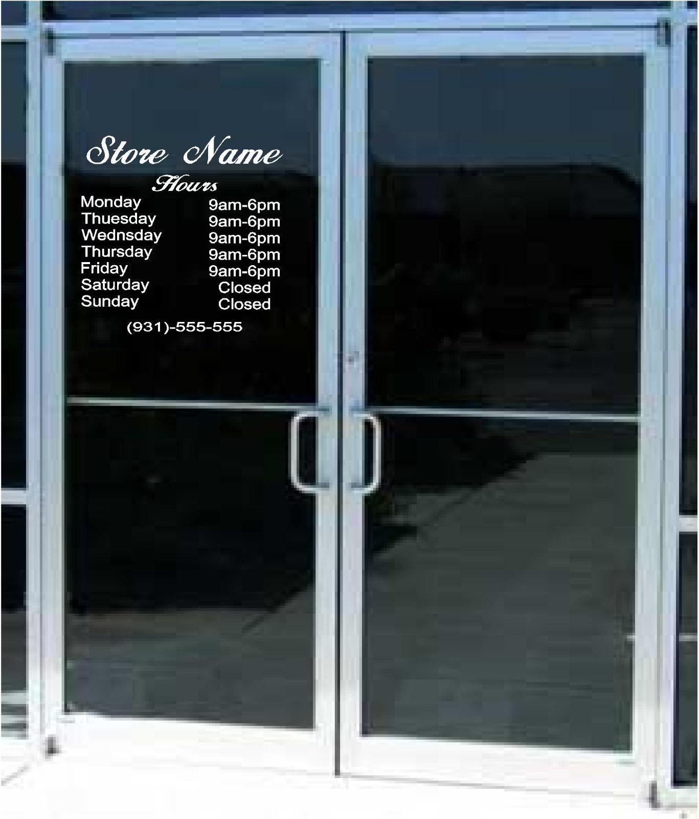 Custom business store hours sign vinyl decal sticker 12 x for Door with window in it