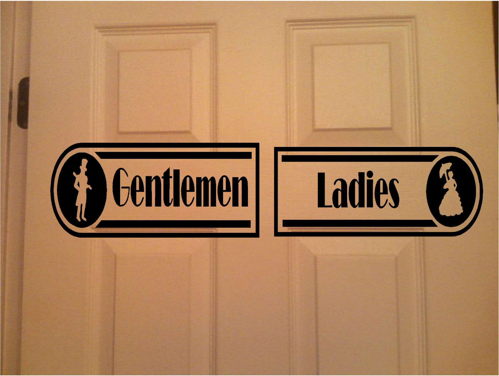 Restroom Sign Business Resturant Signs Sticker Ladies Gentlemen Set Of 2