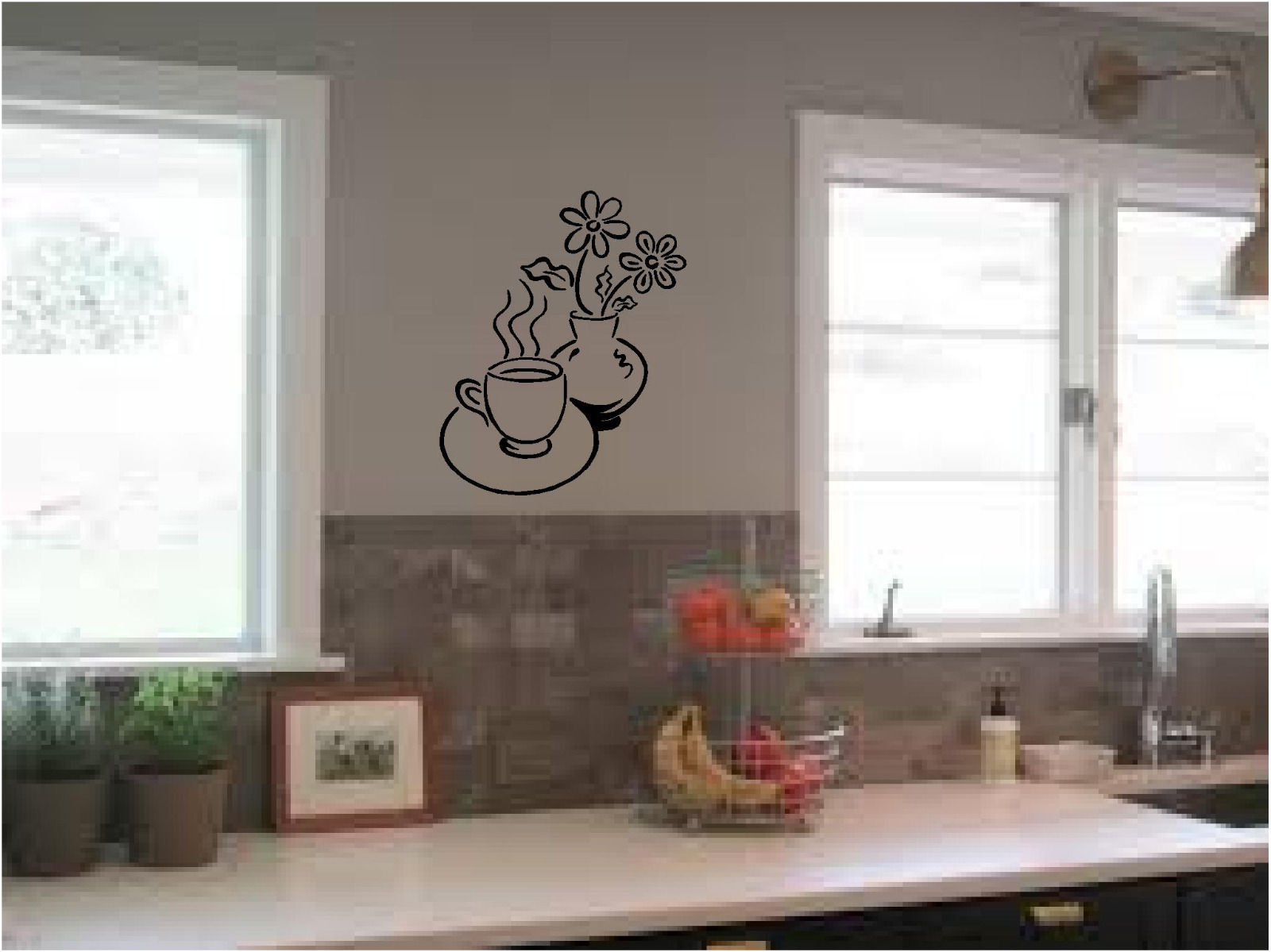 Coffee And Flowers Kitchen Wall Sticker Wall Art Vinyl Decals